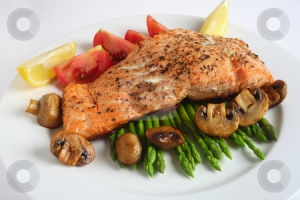 salmon with mushrooms