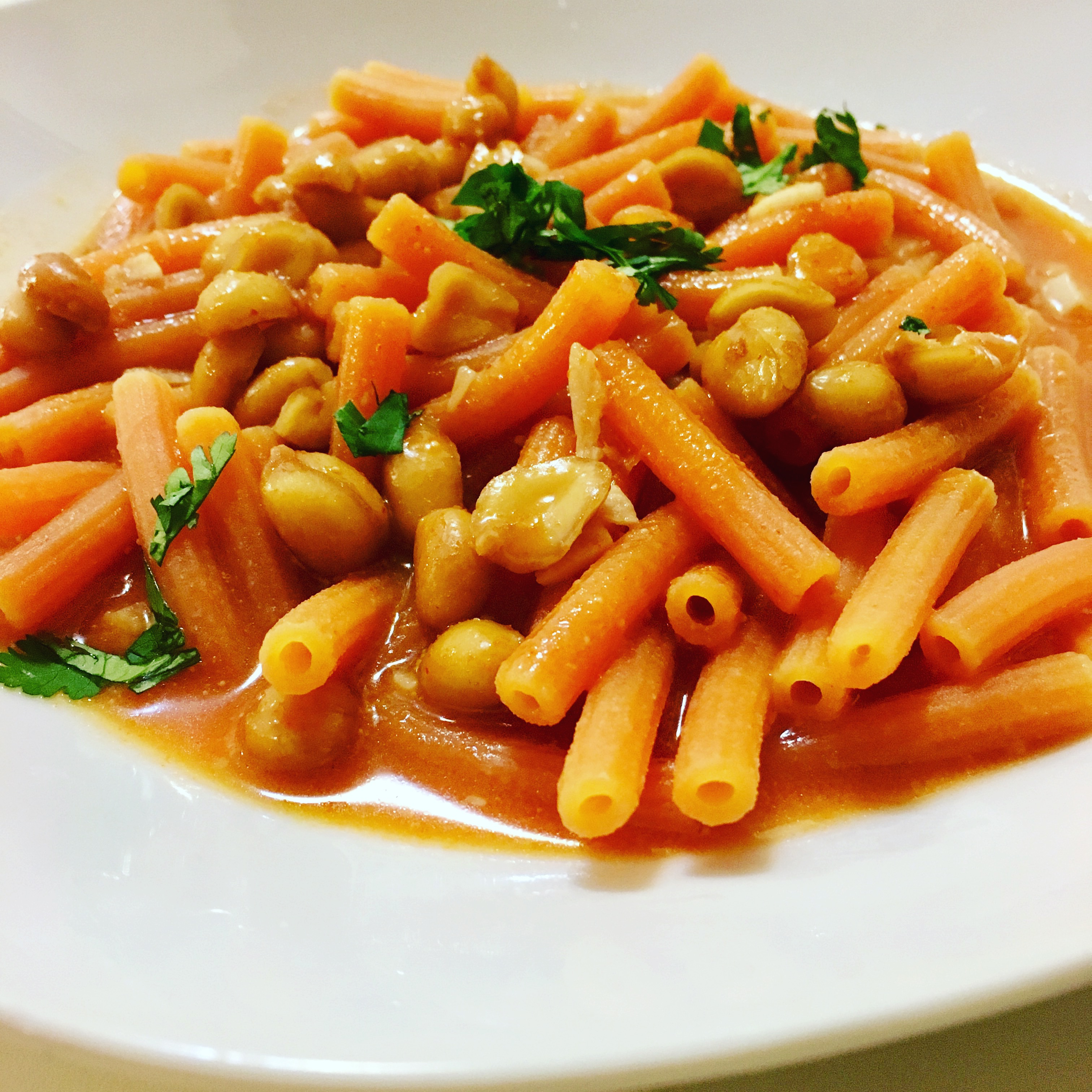 Red Lentil Pasta In A Red Curry Peanut Sauce